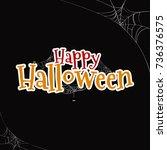 happy halloween text banner ...   Shutterstock .eps vector #736376575