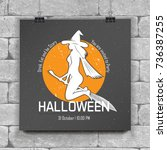 happy halloween set. invitation ... | Shutterstock .eps vector #736387255