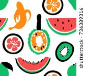 abstract colorful fruits... | Shutterstock .eps vector #736389316