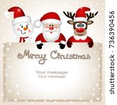 christmas card. funny postcard... | Shutterstock .eps vector #736390456