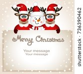 christmas card. funny postcard... | Shutterstock .eps vector #736390462