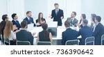 friendly business team applause ... | Shutterstock . vector #736390642