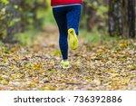 woman running in the autumn park   Shutterstock . vector #736392886