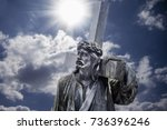 the road to golgotha. ancient... | Shutterstock . vector #736396246