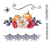 autumn watercolor illustration  ... | Shutterstock . vector #736398742