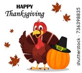 thanksgiving greeting card with ... | Shutterstock .eps vector #736398835