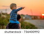happy man and his child having... | Shutterstock . vector #736400992