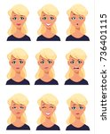 face expressions of a blonde... | Shutterstock .eps vector #736401115