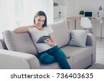 chilling gorgeous brown haired... | Shutterstock . vector #736403635
