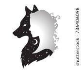 silhouette of beautiful woman... | Shutterstock .eps vector #736406098