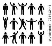 stick figure standing position. ... | Shutterstock . vector #736412446