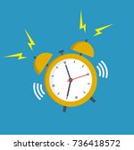 alarm clock yellow wake up time ... | Shutterstock .eps vector #736418572
