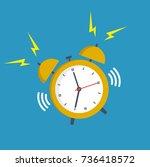 alarm clock yellow wake up time ... | Shutterstock .eps vector #736418572