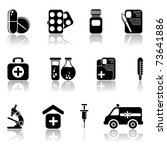 Set of black medical icons, illustration - stock vector
