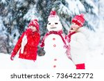 children build snowman. kids... | Shutterstock . vector #736422772