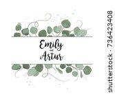 vector floral card design... | Shutterstock .eps vector #736423408