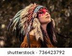 indian american female shaman...   Shutterstock . vector #736423792
