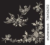 embroidery floral corner... | Shutterstock .eps vector #736426252