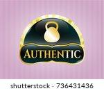 golden badge with kettlebell... | Shutterstock .eps vector #736431436