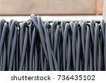 closeup of a cable reel | Shutterstock . vector #736435102