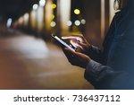 tourist pointing finger on... | Shutterstock . vector #736437112