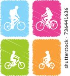 colorful bicyclists icons set   ... | Shutterstock .eps vector #736441636