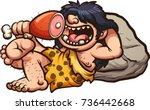 happy cartoon caveman eating an ... | Shutterstock .eps vector #736442668