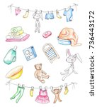 set of washed baby clothes.... | Shutterstock . vector #736443172
