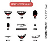 mouth expressions vector set.... | Shutterstock .eps vector #736444762