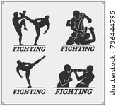 set of fighting club emblems ... | Shutterstock .eps vector #736444795