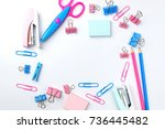 stationary concept  flat lay... | Shutterstock . vector #736445482
