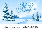 winter landscape with merry...   Shutterstock .eps vector #736458115
