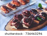 beautifully decorated catering... | Shutterstock . vector #736463296