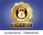 gold emblem with 4kg... | Shutterstock .eps vector #736466392