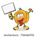 halloween pumpkin vector on... | Shutterstock .eps vector #736466932