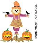 halloween scarecrow vector on... | Shutterstock .eps vector #736466956