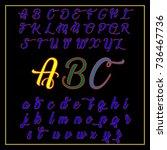vector abc letters. handwritten ... | Shutterstock .eps vector #736467736