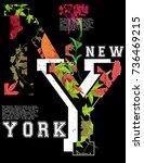 newyork fashion tee typography... | Shutterstock .eps vector #736469215