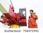 operator recording operation of ... | Shutterstock . vector #736471942