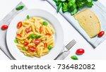 colorful penne rigate pasta... | Shutterstock . vector #736482082