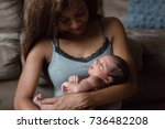african american mother with... | Shutterstock . vector #736482208