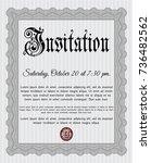 grey retro invitation. superior ... | Shutterstock .eps vector #736482562