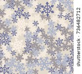 seamless pattern. snowflakes... | Shutterstock .eps vector #736482712