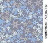 seamless pattern. snowflakes... | Shutterstock .eps vector #736482742