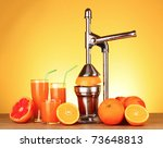 juicer and oranges on yellow... | Shutterstock . vector #73648813