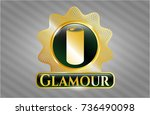 gold shiny badge with soda can ... | Shutterstock .eps vector #736490098