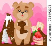 cute bear in candy world  the... | Shutterstock .eps vector #736492375