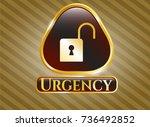 golden badge with open lock... | Shutterstock .eps vector #736492852