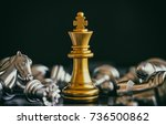 the king in battle chess game... | Shutterstock . vector #736500862