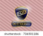 gold shiny badge with paid... | Shutterstock .eps vector #736501186